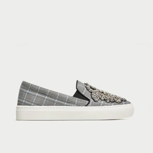 LAST ONE - NWT Zara Beaded Fabric Sneakers